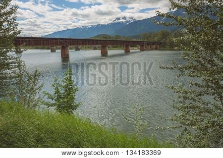 Landscape of the Revelstoke train bridge over the Columbia River in British Columbia