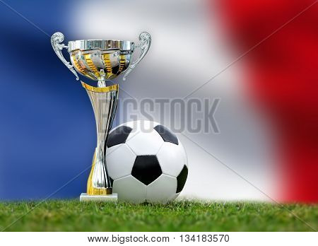 Golden Trophy And Soccer Ball In Grass On France Flag Background