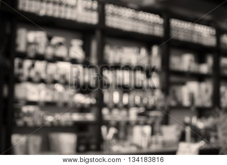 Cafe blurred background with sepia filter, stock photo