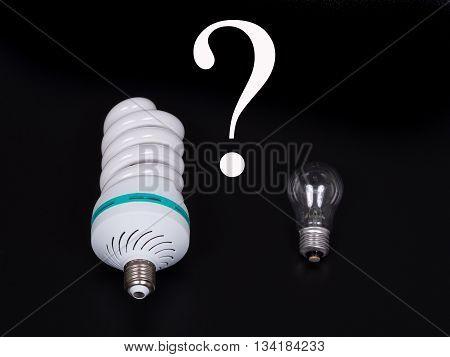 Energy saving lamp isolated on black background.