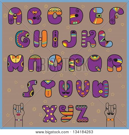 Hipster Alphabet. Funny purple and orange letters. Cartoon hands looking at each other. Vintage fashion. Illustration.