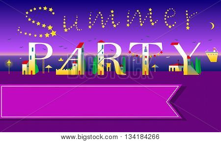 Summer Party invitation. Cute houses font. Night beach. Stars in the sky. Pink banner for custom text. Illustration