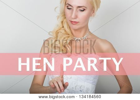 technology, internet and networking concept. Beautiful bride in fashion wedding dress. Bride presses hen party button on virtual screens.