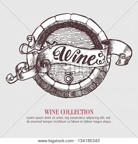 Wine or beer barrel with ribbon, banner. Vector Illustration. Handdrawn sketch template design.
