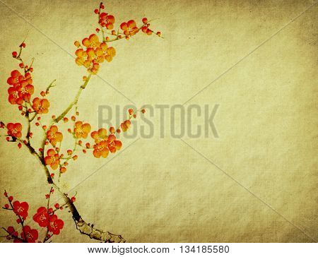 chinese painting Spring plum blossom on Old vintage paper background