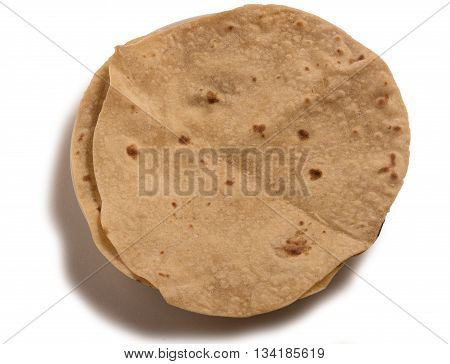 Homemade fresh Hot Chapati isolated on white background.Top view