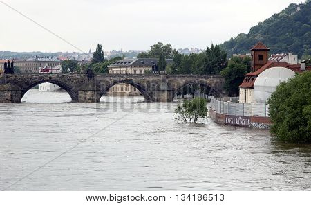 PRAGUE, CZECH REPUBLIC - JUNE 6, 2013: Floods in Prague