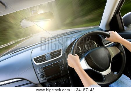 hand control car steering movement speed on rural road
