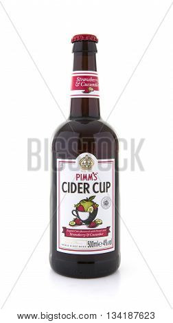 SWINDON UK - JUNE 3 2016: Bottle of Pimms Cider Cup on a white background