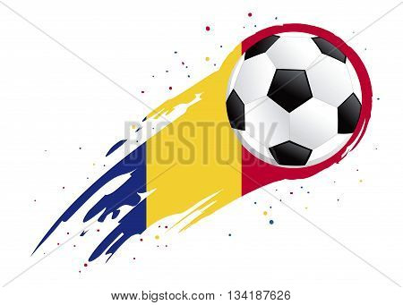 Vector illustration of a soccer ball with abstract Romania insignia brush strokes