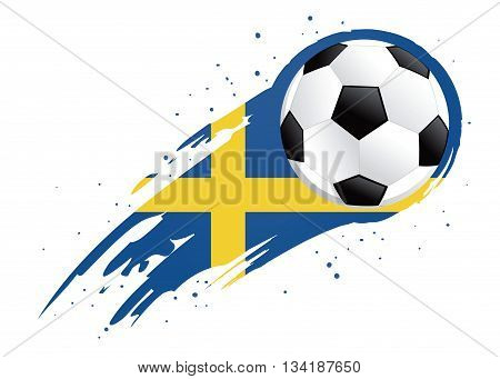 Vector illustration of a soccer ball with abstract Sweden insignia brush strokes