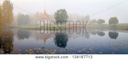 thai temple standing near water in Sweden