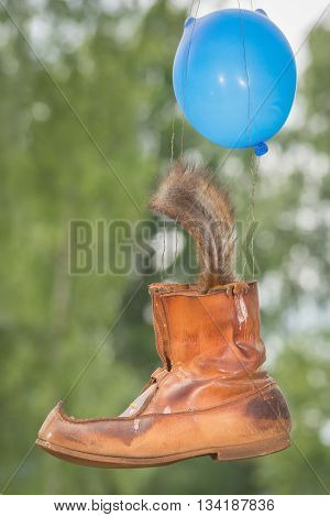 red squirrel tail in a shoe with a balloon