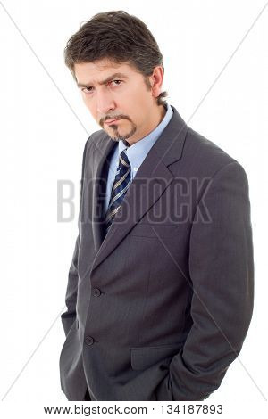 mad business man thinking, isolated on white