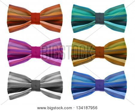 Collection of bow tie with color rainbow strip. isolated on white.