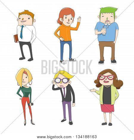 Group Office Employee Characters cartoon design Vector