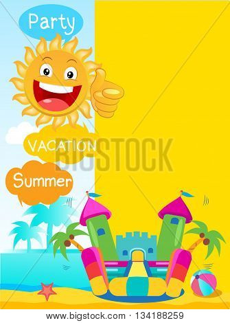 Bouncy Castle And Happy Sun. Summer Rest Vector Concept Banner. Summertime Template With Space For Text.