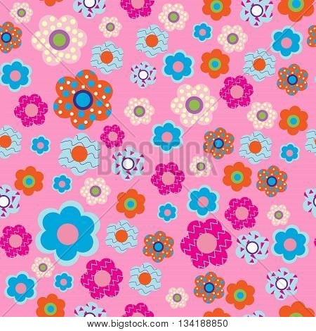 Cute seamless pattern with a fabric flowers