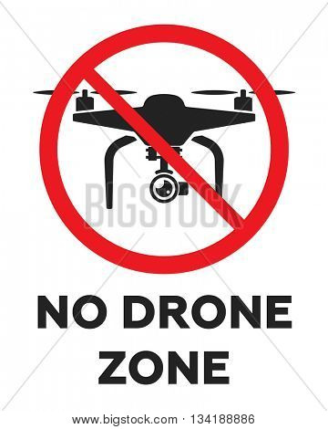No fly drones sign. No fly zone, Drone sign isolated on white background, Vector illustration