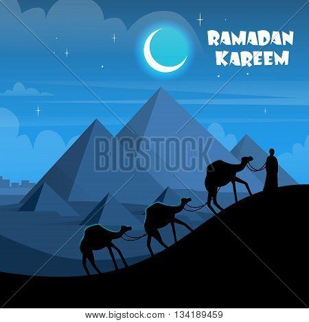Desert Night Egypt Pyramids Camel Caravan Flat Vector Illustration