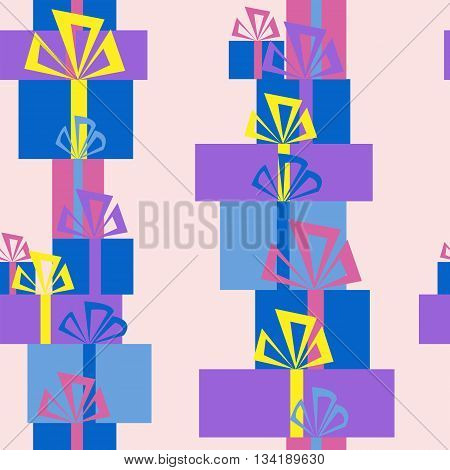 Seamless pattern of cute piles of gifts