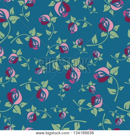 Seamless Floral Pattern With Beautiful Burgundy Roses