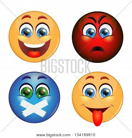 Set of different emotions: smiling, anger, silence, showing tongue