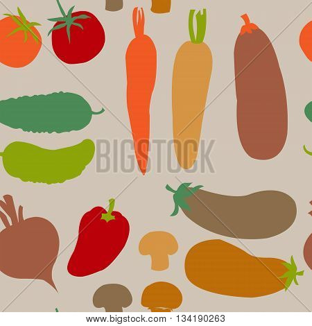 Seamless cute background with a different vegetables