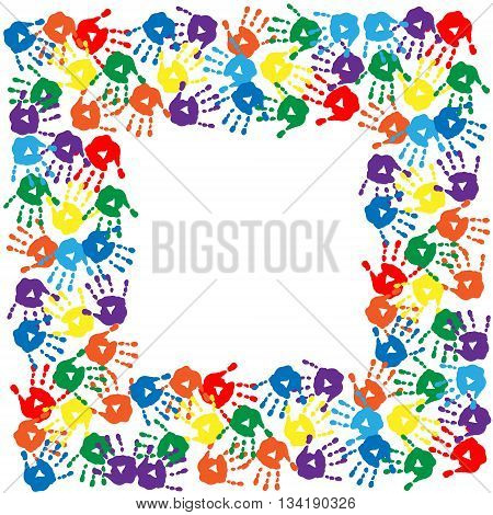 Frame of a different cute colorful hand prints