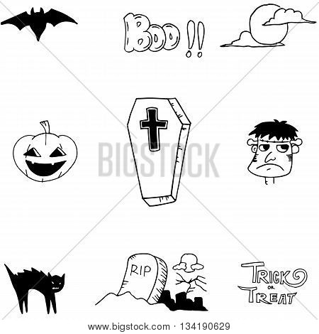 Halloween icon doodle on white backgrounds for stock