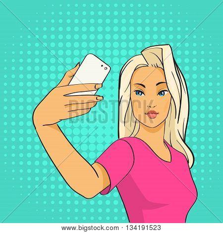 Pretty Girl Blogger Taking Selfie Photo On Smart Phone Pop Art Colorful Retro Style Vector Illustration