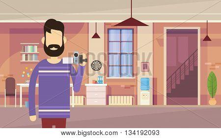 Man Blogger Hold Camera Office Interior Video Blogging Concept Flat Vector Illustration