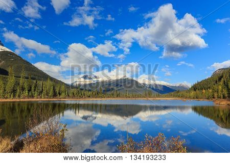 Rampart Pond in Icefields Parkway, Alberta, Canada
