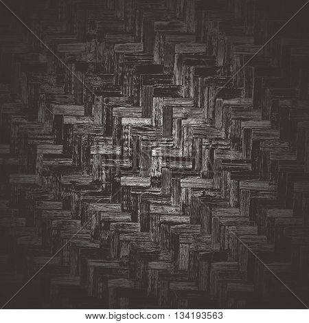 Abstract creative background of wickerwork pattern. Dark brown bamboo weave texture with vignette for design.