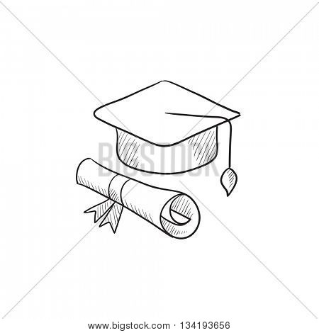 Graduation cap and paper scroll vector sketch icon isolated on background. Hand drawn Graduation cap and paper scroll icon. Graduation cap and paper scroll sketch icon for infographic, website or app.