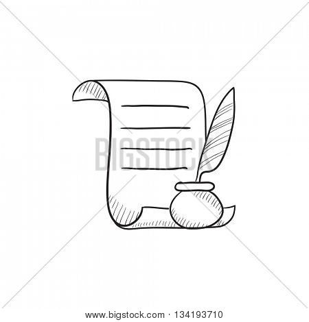 Paper scroll with feather pen vector sketch icon isolated on background. Hand drawn Paper scroll with feather pen icon. Paper scroll with feather pen sketch icon for infographic, website or app.