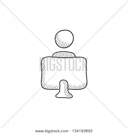 Online education vector sketch icon isolated on background. Hand drawn Online education icon. Online education sketch icon for infographic, website or app.