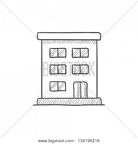 Residential building vector sketch icon isolated on background. Hand drawn Residential building icon. Residential building sketch icon for infographic, website or app.