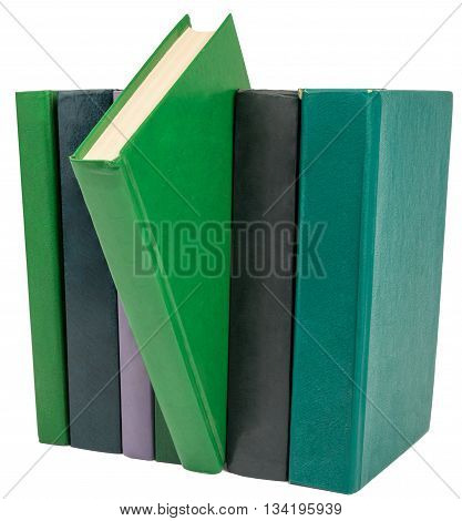 Books isolated on white background, close up view
