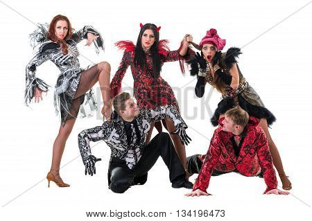 dancer team wearing carnival costumes dancing against isolated white background