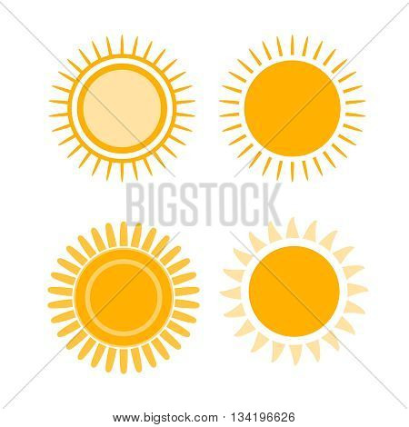 Sun Icon Set Yellow Symbol Sign Graphic