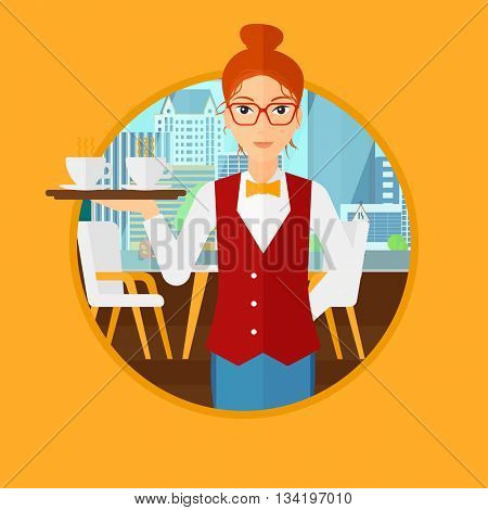 Waiteress holding a tray with cups of tea or coffee. Waiteress carries coffee on a tray. Waitress with tray in a coffee shop. Vector flat design illustration in the circle isolated on background.