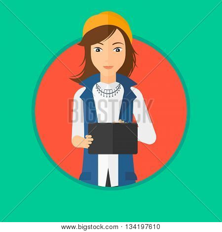 A young woman holding a tablet computer. Student working on tablet computer. Woman with tablet computer. Vector flat design illustration in the circle isolated on background.