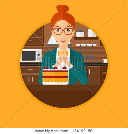 A happy woman looking with passion at a big cake. Woman standing in front of cake in the kitchen. Woman craving delicious cake. Vector flat design illustration in the circle isolated on background.