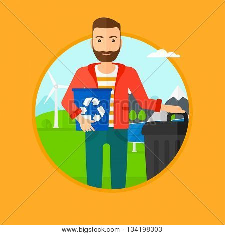 Man carrying recycling bin. Man with recycling bin standing near a trash can on a background of wind turbine and solar panel. Vector flat design illustration in the circle isolated on background.