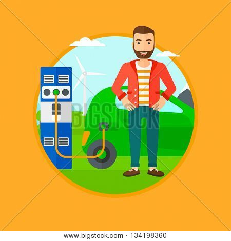 A hipster man with the beard charging electric car at charging station. Man standing near power supply for electric car charging. Vector flat design illustration in the circle isolated on background.