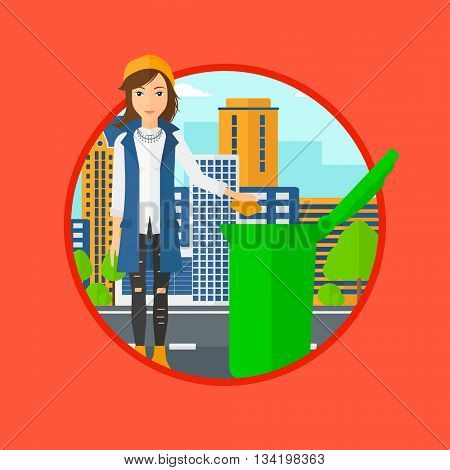 Woman throwing away a garbage in a green trash in the city. Woman throwing away trash. Eco-friendly woman throwing trash. Vector flat design illustration in the circle isolated on background.