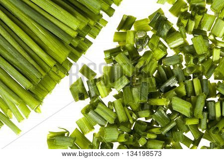 bunch of fresh chives isolated on white background close up