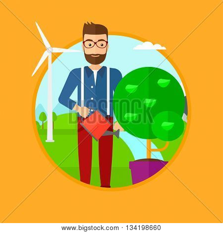 Man with beard watering tree growing in pot. Man watering tree on background of wind turbine. Concept of environmental protection. Vector flat design illustration in the circle isolated on background.