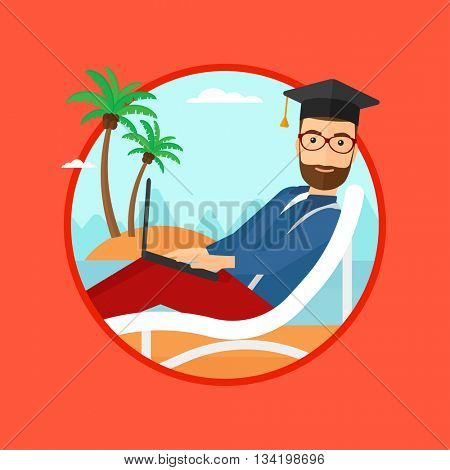 A hipster graduate with the beard lying in chaise long. Graduate in graduation cap working on laptop. Graduate on a beach. Vector flat design illustration in the circle isolated on background.